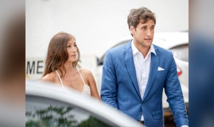 Nico Bolzico and Solenn Heussaff greet each other for their 2nd wedding anniversary